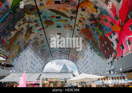 Markthal in Rotterdam, interior view, architecture, colourful, painting, architecture - Stock Photo