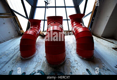 Red vent pipes - Stock Photo