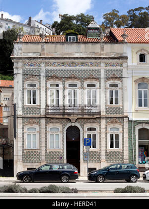Old house with tiles in the street Avenida Emidio de Navarro, Coimbra, Beira Litoral, Regio Centro, Portugal - Stock Photo