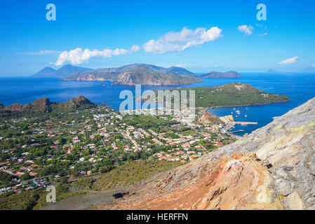 Porto di Levante and Vulcanello, with Lipari and Salina Island, Vulcano Island, Aeolian Islands, Italy - Stock Photo