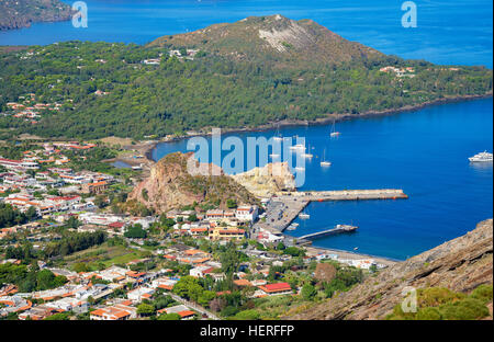 Porto di Levante and Vulcanello, Vulcano Island, Aeolian Islands, Tyrrhenian Sea, Italy - Stock Photo
