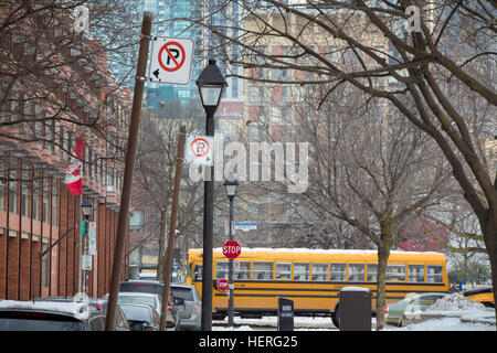 Typical Canadian street in winter - Stock Photo