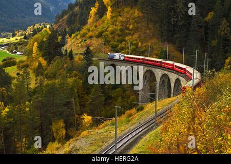 Rhaetian Railway, Schmitten-Tobel Viaduct, Filisur, Graubünden Canton, Switzerland - Stock Photo