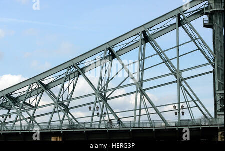 Blaues Wunder, Blue Wonder, a cantilever truss bridge over the Elbe River in Dresden, Saxony, Germany - Stock Photo