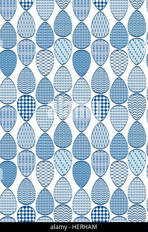 Seamless pattern. Easter eggs with blue patterns, isolated on white background. - Stock Photo