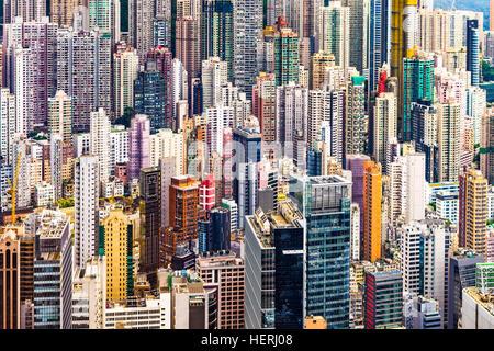 Hong Kong China dense urban buildings - Stock Photo