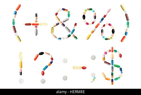Characters (, +, &, %, ), !, ?, :, -, ; and $ on white made of various colorful pills, capsules and tablets - Stock Photo