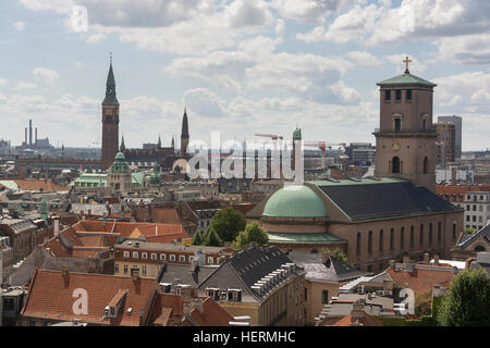 Views across the city from the platform at the top of the Rundetaarn or Round Tower in central Copenhagen. - Stock Photo