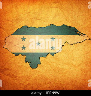 map with flag of honduras with national borders - Stock Photo