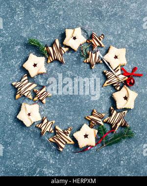 Wreath of Christmas cookies - Stock Photo