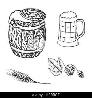 Beer barrel, mug, hops, spike, hand drawn doodle, sketch in pop art style, vector - Stock Photo