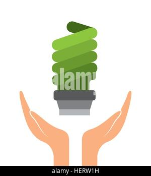 hands with green bulb light icon over white background. colorful design. vector illustration - Stock Photo