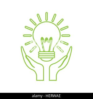 hands with light bulb icon over white background. colorful design. vector illustration - Stock Photo