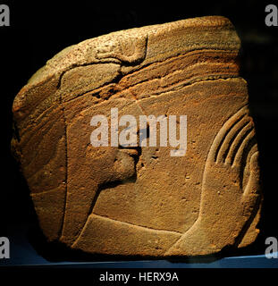 Relief depicting pharaoh Sety I(1314-1304 BC). Head and hand. 19th Dynasty. New Kingdom. From a wall of the great - Stock Photo