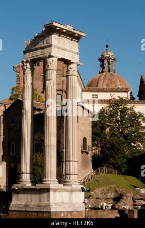 View of ancient columns with corinthian capitals near the theater Marcellus in Rome - Stock Photo