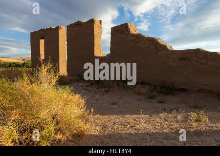 Fort Churchill, Nevada, USA, are the remains of a United States Army fort and a waystation on the Pony Express Trail - Stock Photo