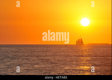 Sunset cruise schooner in Key West, Florida, USA - Stock Photo