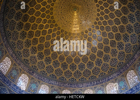 Interior of the Sheikh Lotfollah Mosque in Isfahan, Isfahan Province, Iran - Stock Photo