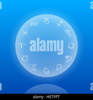 Astrology sings of the zodiac on a floating sphere on ocean blue background. - Stock Photo