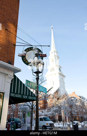 The North Church and Breaking New Grounds in Market Square in Portsmouth, New Hampshire.  Winter.