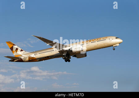 Etihad Airlines, Boeing 787 Dreamliner, commercial jet aircraft, after take off, Perth, Western Australia. - Stock Photo