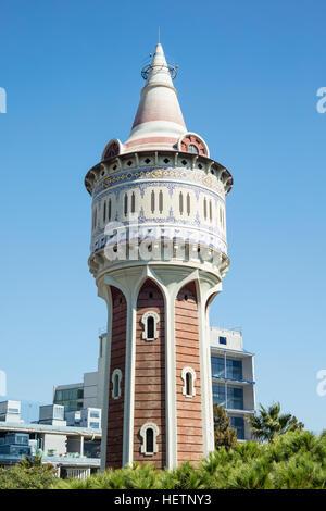 Torre de las Aguas de Fenosa (Water Tower) closed to Hospital del Mar in Barceloneta, Barcelona, Spain. This old - Stock Photo