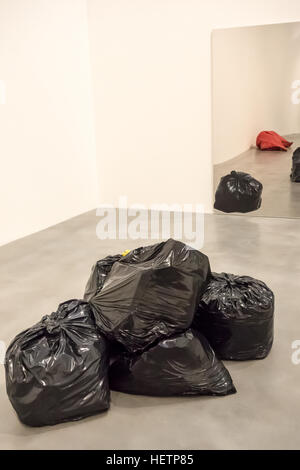 Trash (2006) painted in bronze by Gavin Turk is on display until 19th March 2017 at the Newport Street Gallery in - Stock Photo