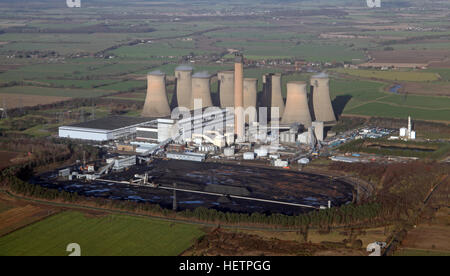 aerial view of Eggborough Power Station, West Yorkshire, UK - Stock Photo