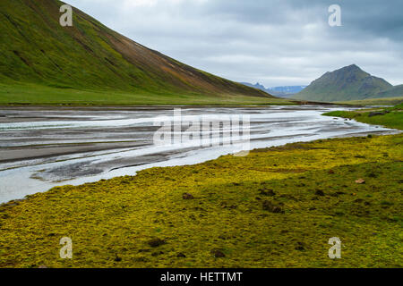 Grassland and river - Stock Photo