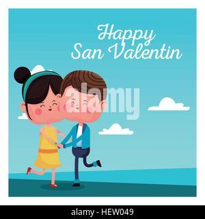 happy san valentine card cheerful couple blue sky - Stock Photo