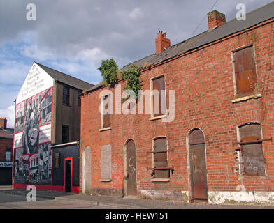 Shankill Road Mural -thirty years of slaughter, West Belfast, Northern Ireland, UK - Stock Photo
