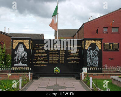Belfast Falls Rd Republican Peace Garden- Names of the fighters live forever. With tricolor Eire flag - Stock Photo