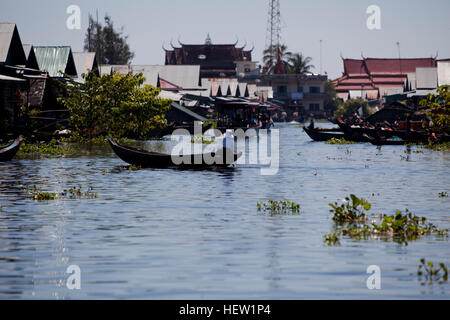 Floating Village in Cambodia - Stock Photo