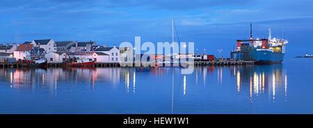 Stornoway Isle Of Lewis Panorama of harbour, Scotland, UK,Ullapool ferry MV,Loch,Seaforth - Stock Photo