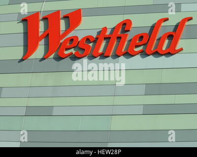 Westfield sign at White City shopping centre London - Stock Photo