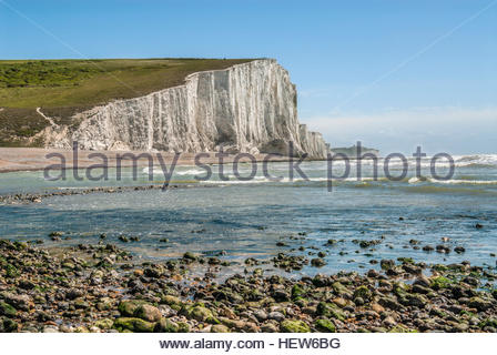 View over the Seven Sister Cliff Formation near Eastbourne, East Sussex, South England. - Stock Photo