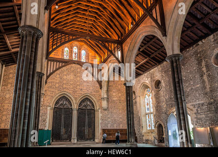 The Great Hall of Winchester, England, where the legendary round table of King Artus was located. - Stock Photo