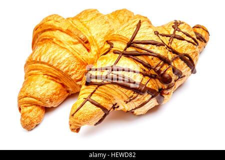 two fresh croissants on white background - Stock Photo