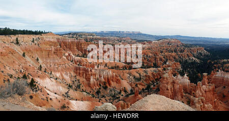 Bryce Canyon National Park, a sprawling reserve in southern Utah, is known for crimson-colored hoodoos, which are - Stock Photo