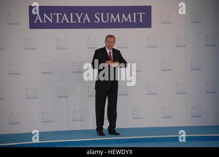 Turkish President Recep Tayyip Erdogan at the Welcoming Ceremony of G20 Summit in Regnum Carya Hotel. - Stock Photo