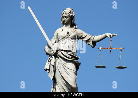 Statue of Lady Justice in Dublin, Ireland - Stock Photo