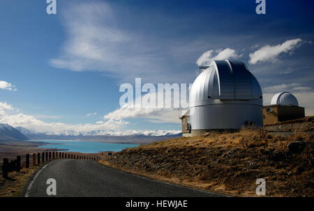 On the summit of Mount John is the University of Canterbury's astronomical observatory. During the day its domes - Stock Photo