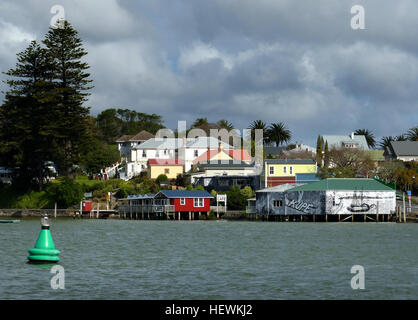 There aren't many places like Rawene: a small community on a promontory, with a fascinating history. Some of the - Stock Photo