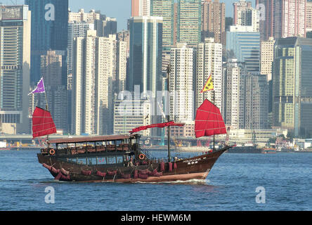 The Aqua Luna was built from scratch; it took a Hong Kong craftsman 18 months to construct using traditional shipbuilding - Stock Photo