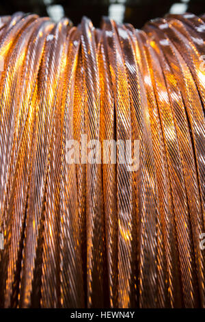 Close up of copper cable on reel - Stock Photo