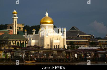 Sultan Omar Ali Saifuddin Masjid in Bandar Seri Begawan, the capital of Brunei  The Sultan Omar Ali Saifuddin Mosque - Stock Photo