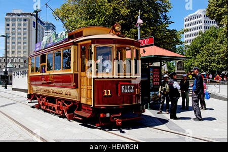 Tram 11: 'The Boxcar' This cheerful little red 28-seater, built in Philadelphia, U.S.A., served Dunedin for decades - Stock Photo