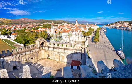 Town of Trogir rooftops and landmarks panoramic view, Dalmatia, Croatia - Stock Photo