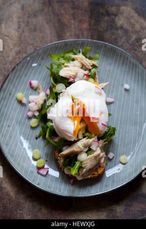 Open sandwich with salad, smoked mackerel and poached egg - Stock Photo