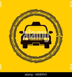 wheel print on circle shape with taxi car vehicle icon. colorful design. vector illustration - Stock Photo